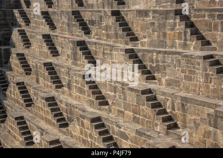 Detail of ancient stepwell in india is Chand Baori - Stock Photo