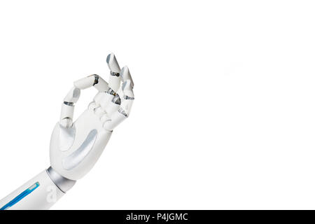 robot hand showing ok gesture isolated on white - Stock Photo