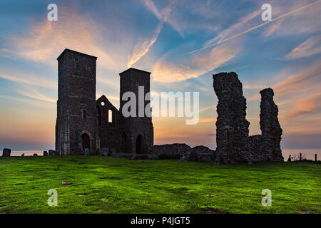 Sunset at Reculver, on the North Kent Coast, near Herne Bay, Kent, UK. - Stock Photo