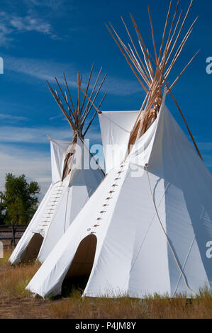 Teepees, Grant-Kohrs Ranch National Historic Site, Montana - Stock Photo