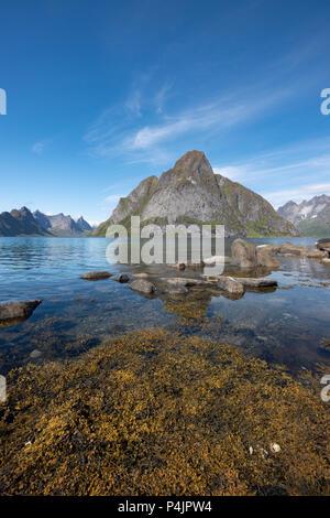 Mount Olstinden, Lofoten Islands, Norway. - Stock Photo