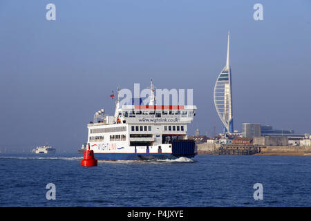 Wight Link Car Ferry St Cecilia leaving Portsmouth Harbour en route to the Isle of Wight - Stock Photo