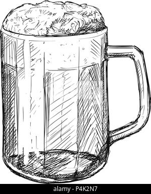 Vector Sketch Drawing Illustration of Beer Mug - Stock Photo