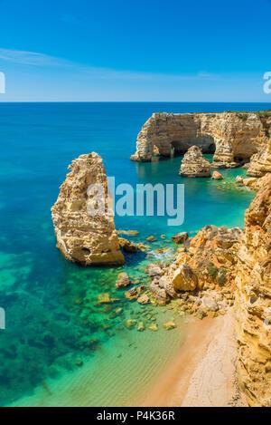 Praia da Marinha - Beautiful Beach Marinha in Algarve, Portugal - Stock Photo