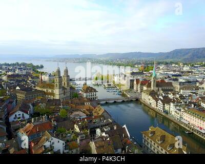 Aerial view of Zurich old town, Switzerland - Stock Photo