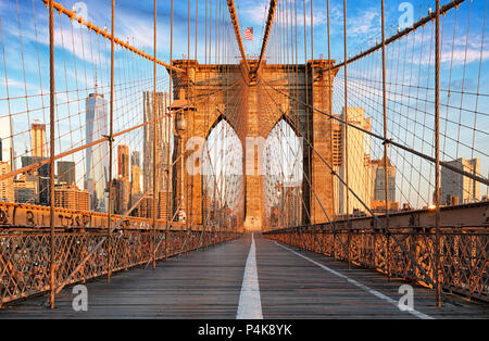 Brooklyn Bridge, New York City, nobody - Stock Photo
