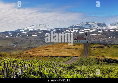 Old small wooden church in Hellnar Iceland - Stock Photo