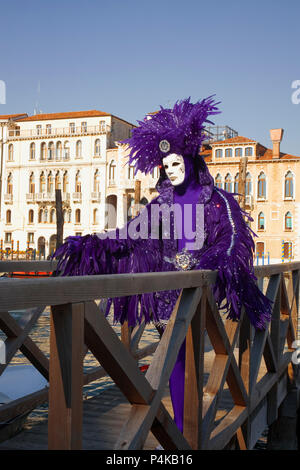 Campo della Salute, Dorsoduro, Venice, Italy: masked reveller wearing a feathered costume poses by the Grand Canal - Stock Photo