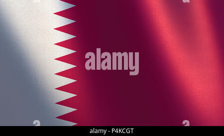 Qatar flag. 3d illustration of waving flag of Qatar - Stock Photo