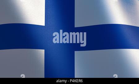 Waving flag of Finland. 3d illustration - Stock Photo