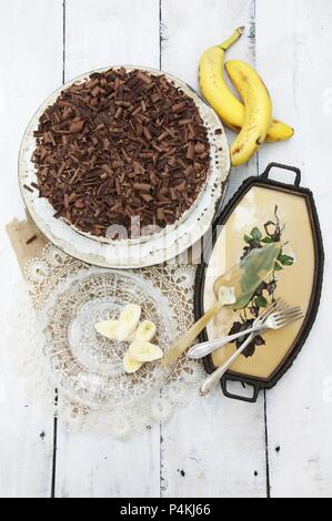 Banana and chocolate cake with low-fat quark - Stock Photo
