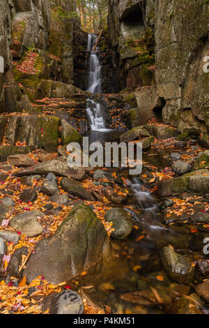 Waterfall on Flume Brook, Dixville Notch State Park, New Hampshire - Stock Photo