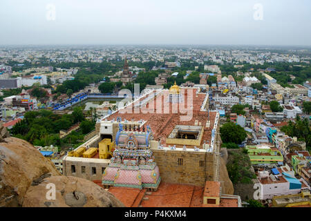 Tiruchirappalli (Trichy) city view from Ucchi Pillayar Temple, with Main Guard Gate and Our Lady of Lourdes Church far letf, Tamil Nadu, India. - Stock Photo
