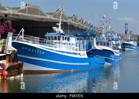 Fishing fleet  decked with bunting for the Festival of the Sea, Dieppe, Normandy, France - Stock Photo