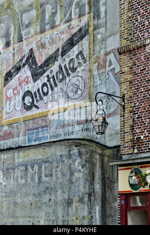 Faded painted wall advertisements, Dieppe, Normandy, France - Stock Photo