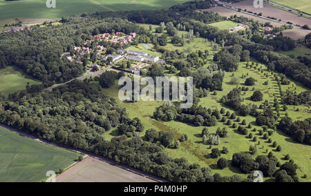 aerial view of Rudding Park Hotel & Golf Course, Harrogate, North Yorkshire - Stock Photo