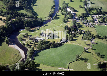 aerial view of Bolton Abbey on he River Wharfe in Wharfedale, North Yorkshire - Stock Photo