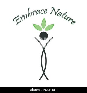 Embrace Nature- The graphic portrays the need to save the environment. - Stock Photo