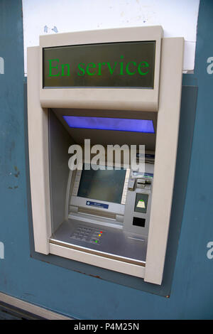 French bank cash point ATM machine in town centre of Le Mans France - Stock Photo