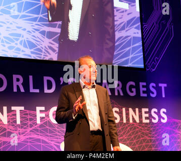 Sir George Zambellas,  Board of Directors, Agorai, speaking at the AI Summit, 2018, ExCel,  London - Stock Photo
