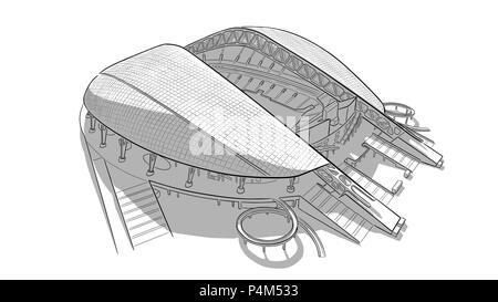 Hand drawn sketch of the main stadium in Sochi. - Stock Photo