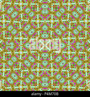 Digital collage technique decorative geometric seamless check pattern mosaic design in mixed colors scheme - Stock Photo