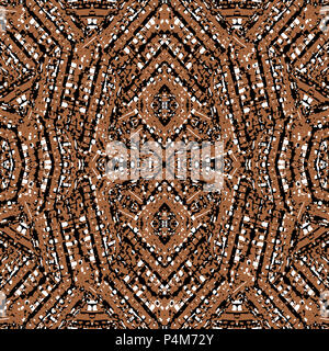 Digital style technique abstract textured geometric ethnic or tribal style seamless pattern design in brown tones - Stock Photo