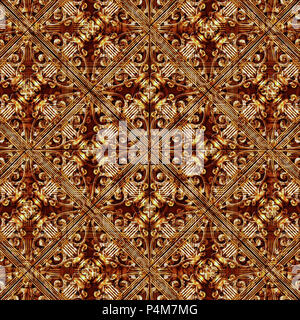 Digital art techinque luxury modern baroque decorative geometric seamless check pattern mosaic design in mixed brown tones. - Stock Photo