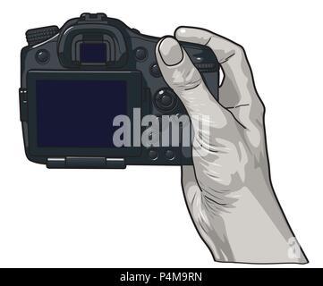 Vector illustration. Hands holding professional photo camera. - Stock Photo
