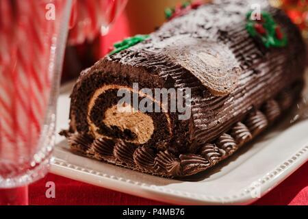 A Yule Log (Bûche de Noël) - Stock Photo
