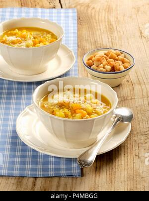 Minestra di zucca, riso e patate (pumpkin soup with rice and potatoes, Italy) - Stock Photo