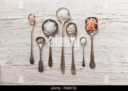 Seven vintage spoons of diffrent types of salt on a white wooden surface - Stock Photo