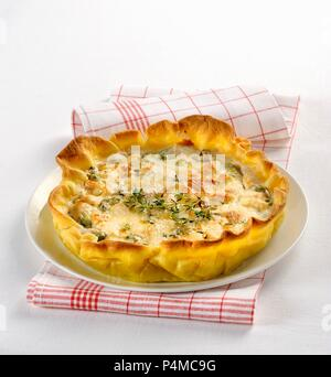 Spicy vegetable and cheese tart - Stock Photo