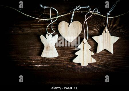 Wooden Christmas decorations - Stock Photo