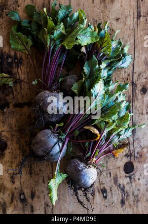 Beetroot on a wooden surface - Stock Photo