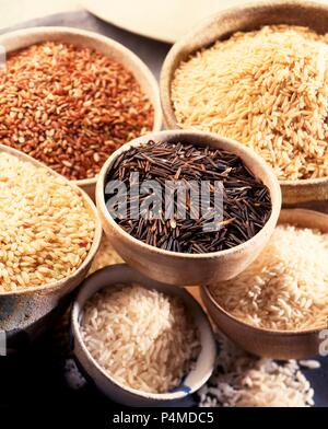 Various types of rice in bowls - Stock Photo