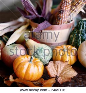 Autumn still life with pumpkins, apples and corn cobs - Stock Photo