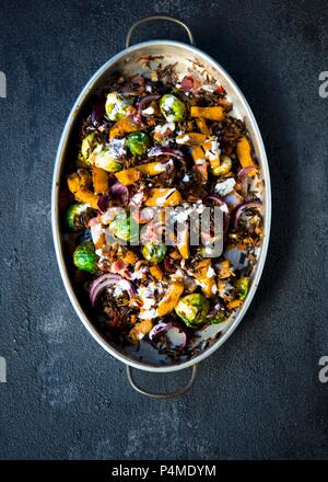 Roasted sweet pumpkins, brussels sprouts flavored with spices and tossed with wild rice topped with bacon bits and a lemon creme fraiche dressing - Stock Photo