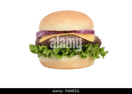 isolated homemade hamburger with lettuce and cheese - Stock Photo