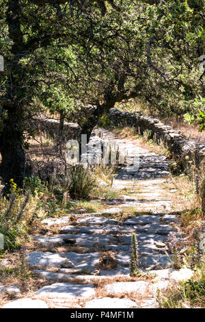 A well maintained footpath on the walking route 1 on the Greek island of Kea in the Cyclades, The island has a network of paths marked for walkers. - Stock Photo