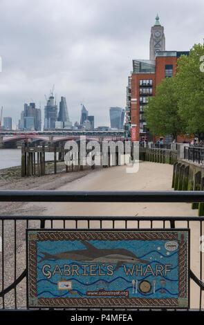 Gabriels wharf, river thames, london. - Stock Photo