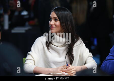 Prince Harry and Ms. Markle  attend an event at Millennium Point to celebrate  International Women's Day,in Birmingham today on March 8, 2018 in Birmingham, England. - Stock Photo