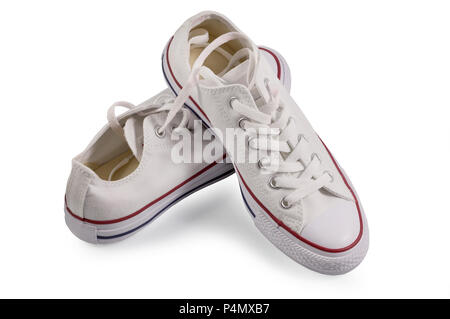 Fashion in summer, spring with white sneakers shoes, New white sneakers isolated on white background with clipping path. - Stock Photo