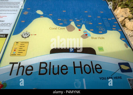 The blue Hole MALTE Gozo-Dwejra - Stock Photo