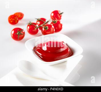 Ketchup in a dish with a spoon - Stock Photo