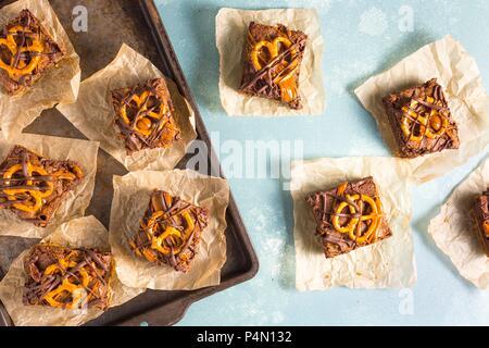 Pretzel Brownies - Stock Photo