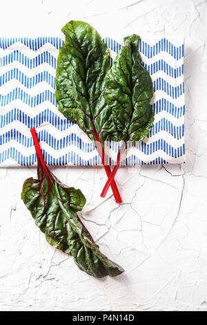 Red-stemmed chard (seen from above) - Stock Photo