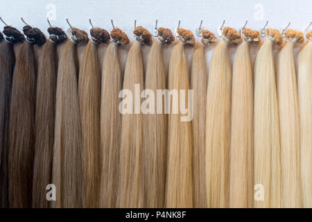 Hair Colors Palette. Hair Texture background, Hair colours set. Tints. Dyed Hair Color Samples - Stock Photo