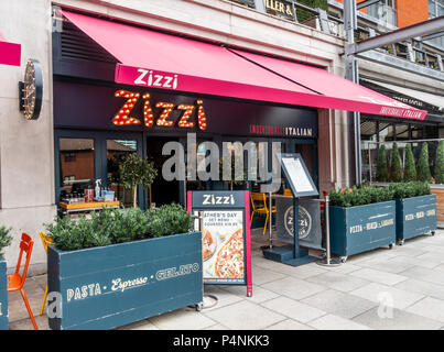 Exterior of Zizzi restaurant in the Mailbox, Wharfside,  Birmingham City Centre, West Midlands, England, UK - Stock Photo