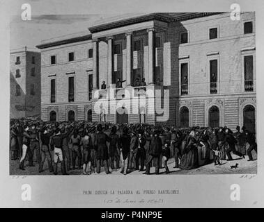 PRIM DIRIGE LA PALABRA AL PUEBLO BARCELONES - 15 DE JUNIO DE 1843 - GRABADO SIGLO XIX. Location: MUSEO ROMANTICO-GRABADO, MADRID, SPAIN. - Stock Photo